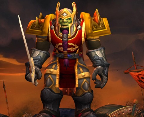 My level 90 warrior decked out in glorious golden heirlooms. Yes, he's fashion conscious.